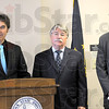 Attorney General:  Representative Bruce Borders, Attorney General Greg Zoeller and Representative Bob Heaton speak with media during Wednesday's news conference at ISU.