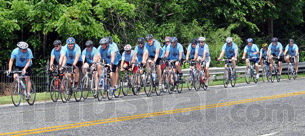 Riders: A group of riders enter Terre Haute via US 40 just west of the Rose-Hulman campus Wednesday afternoon. The riders were meeting with Terre Haute Fire Chief Jeff Fisher at the Hilton Garden Inn.
