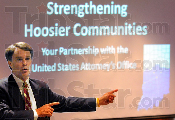 Strength: United States Attorney Joseph H. Hogsett gives a presentation during the Wednesday morning event.