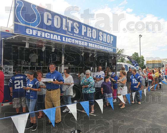 "Tribune-Star/Jim Avelis<br /> Big fans: A good sized crowd showed up at Harrison college for the Indianapolis Colts' ""Make it Personal"" tour  Wednesday evening."