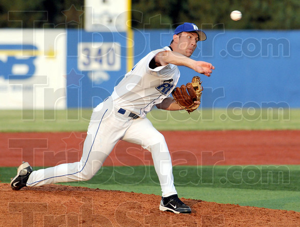 Heat: Rex pitcher #14, Daniel Heefner throws a pitch to the plate during Wednesday's game.