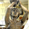 Larry Legend: Detail photo of Larry Bird statue.