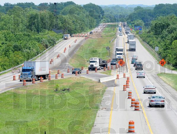 Tribune-Star/Rachel Keyes<br /> Bottle neck: Traffic going east and west on I-70 under the Darwin overpass.