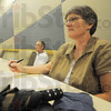Tribune-Star/Rachel Keyes<br /> Noting change: Indiana State Professor Peggy Weber takes notes as State Health Commissioner Dr. Gregory Larkin talks about ways to improve health in Indiana.