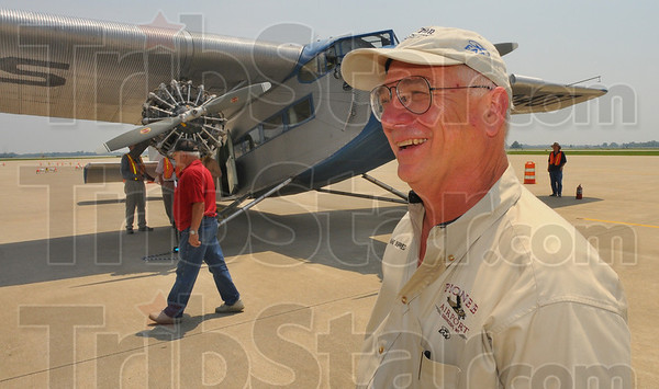 Tribune-Star/Jim Avelis<br /> Left seat: Rand Siegfried is the pilot for the Ford Tri-Motor that will be at Hulman Field for a three-day visit.