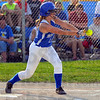 Tribune-Star/Jim Avelis<br /> Sacrificial attitude: Rockville junior Brook Earl taps a bunt to advance her teammate in first inning action Tuesday evening. She was safe at first on an error.