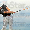 Powerball: Terre Haute South golfer Thomas Goss powers the ball off the tee during action in State Finals play at The Legends golf course in Franklin, Ind.