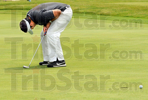 Reaction: Terre Haute South's Thomas Goss reacts to missing a putt by inches during State Finals play Tuesday.