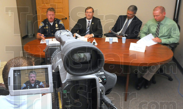 Tribune-Star/Jim Avelis<br /> Meet the press: Law enforcement officials met with members of the media Tuesday afternoon regarding the arrest of Vickie Ashburn. At the table are Indiana State Police Sgt. Joe Watts, Vigo County prosecutor Terry Modesitt and his deputy Rob Roberts, and ISP detective Chris Carter.