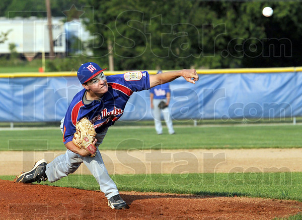 Heat: Post 346 pitcher J.R. Patterson fires a pitch to the plate during early inning action against Danville Tuesday night.