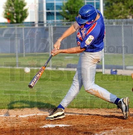 B-bye: Post 346's #10, Caleb Mason strokes a grand-slam home run during game action Tuesday evening.