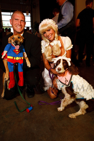 "(Denver, Colorado, June 8, 2011)<br /> Adin Degeare has Dunkin outfitted as Superman and Lisa Parson is Little Bo Peep to Charlie as a sheep.  ""Ladies, Lads, and Lotsa Dogs,"" a benefit for Freedom Service Dogs at The Block Building Event Center in Denver, Colorado, on Wednesday, June 8, 2011.<br /> STEVE PETERSON"
