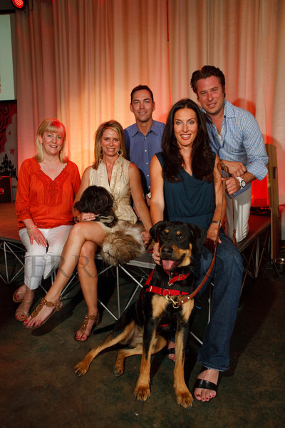 "(Denver, Colorado, June 8, 2011)<br /> Lee Clayton Roper, Andi Leahey, John Tobey, Deviree Vallejo (cq), and Streeter McClure with Bug, a service dog in foreground.  ""Ladies, Lads, and Lotsa Dogs,"" a benefit for Freedom Service Dogs at The Block Building Event Center in Denver, Colorado, on Wednesday, June 8, 2011.<br /> STEVE PETERSON"