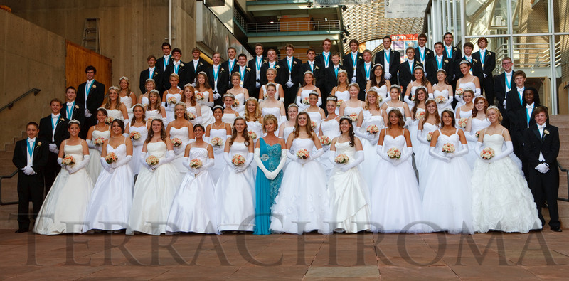 "(Denver, Colorado, June 11, 2011)<br /> Debutantes and Young Men of Distinction pose for a formal photo.  The Denver Ballet Guild presents The Forty-Third Annual Le Bal de Ballet, themed ""Fabergé 2011,"" at Ellie Caulkins Opera House and the Sheraton Denver Downtown Hotel in Denver, Colorado, on Saturday, June 11, 2011.<br /> STEVE PETERSON"