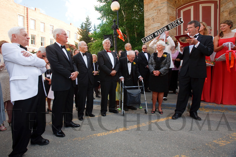 """(Central City, Colorado, June 25, 2011)<br /> Lanny Martin (second from left) has a street dedicated in his name by Central City, announced by the mayor, Ron Engels.  The Central City Opera """"Yellow Rose Ball,"""" presenting the 2011 Flower Girls, at the Central City Opera House in Central City, Colorado, on Saturday, June 25, 2011.<br /> STEVE PETERSON"""