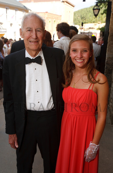 """(Central City, Colorado, June 25, 2011)<br /> Charles Froelicher and Elsa Woolley.  The Central City Opera """"Yellow Rose Ball,"""" presenting the 2011 Flower Girls, at the Central City Opera House in Central City, Colorado, on Saturday, June 25, 2011.<br /> STEVE PETERSON"""