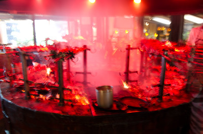 The meat cooking pit at the Carnivore.