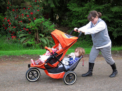 Trying out the Super Stroller