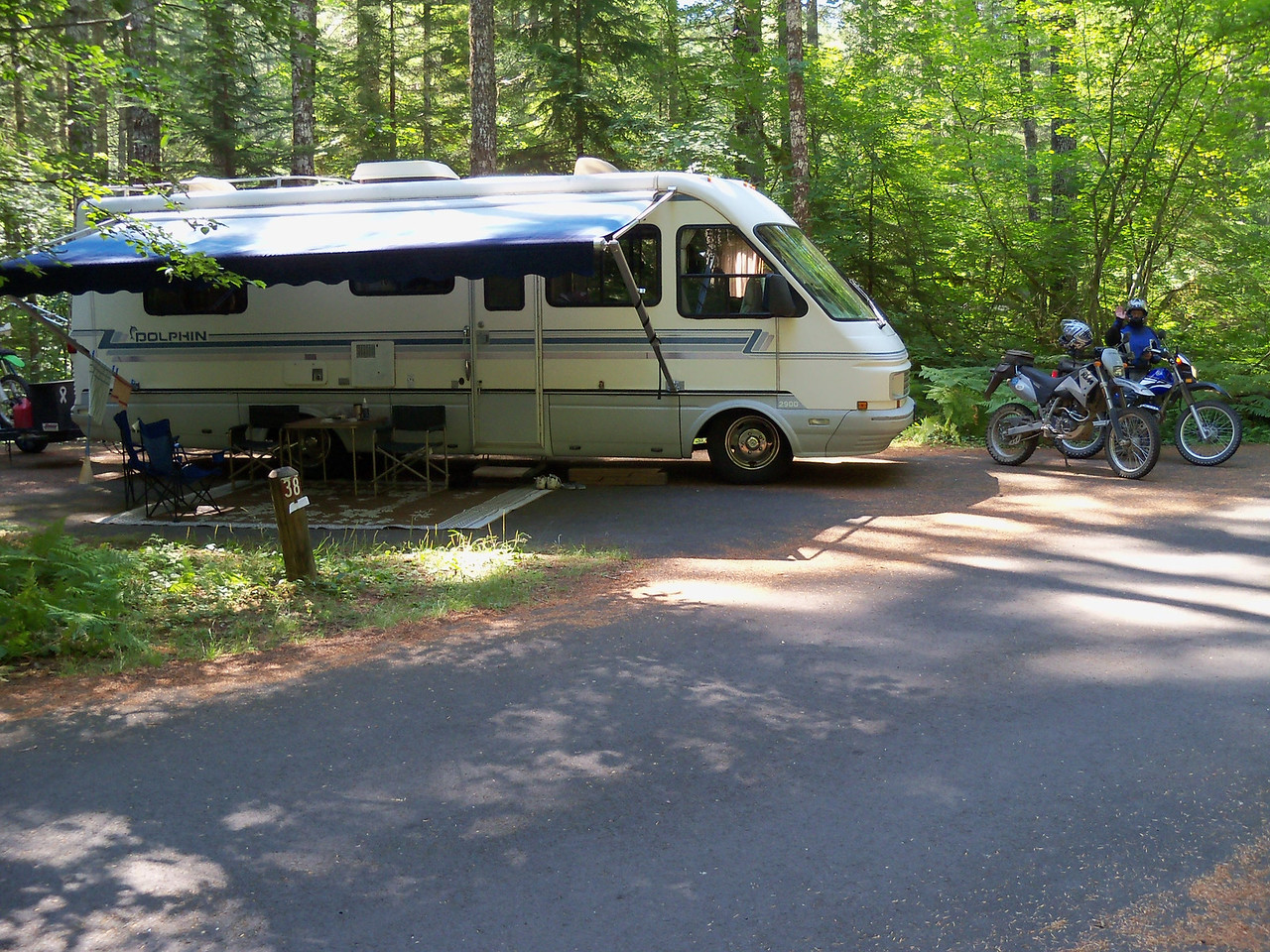 Lower Lewis River Falls Campground on FS 90. Our home for the next 6 days.