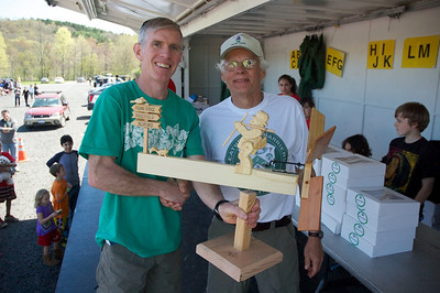 Tom Nohilly congratulated by Tony Godino on winning his 7th Leatherman's Loop on Sunday May 1st, 2011.