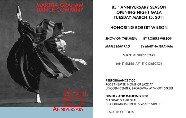 MARTHA GRAHAM Dance Company 85th Anniversary Opening Night Gala Honoring ROBERT WILSON on Tuesday, March 15, 2011 at the Mandarin Oriental, 80 Columbus Circle at West 60th Street, New York City, NY  (PHOTO CREDIT: ©2011 Manhattan Society.com)