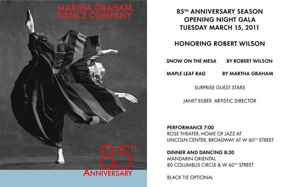 MARTHA GRAHAM Dance Company 85th Anniversary Opening Night Gala Honoring ROBERT WILSON on Tuesday, March 15, 2011 at the Mandarin Oriental, 80 Columbus Circle at West 60th Street, New York City, NY  (PHOTO CREDIT: ©2011 Manhattan Society.com)