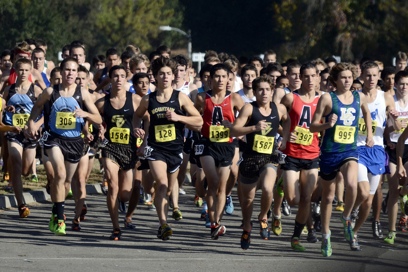 "Leading the way in the ""cool, calm, and confident"" department was of course our very own Freeze Pop, Aubrey Myjer, and all but two of his D2 competitors had no idea what was about to hit them. Again employing brilliant race tactics, Aubrey played it cool in the first mile, staying back from the frenzy up front but keeping in contact with the chase pack that was trying to keep up with early leader Darren Fahy of La Costa Canyon. This group included Richard Ho from Leland, who I'm sure was planning on reestablishing his claim to top CCS runner, an aspiration Aubrey had wrested from him two weeks previously. Aubrey flew by the first mile in 4:53"