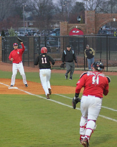 #11 Zeke Blanton is thrown out at first base.