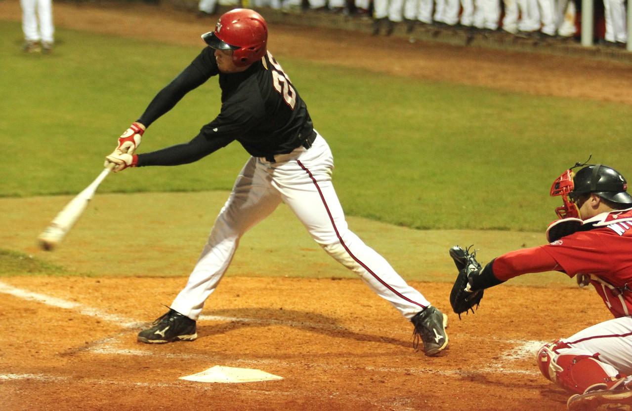 #26 Jake Watts bats in the GWU win against St. John's.