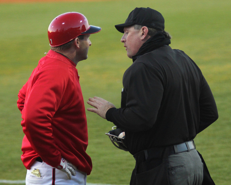 Coach Rusty Stroupe argues with the ump on March 11th, 2011.