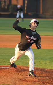 #2 Brandon Boling pitches in the first of three weekend match-ups versus the Red Storm of St. John's.