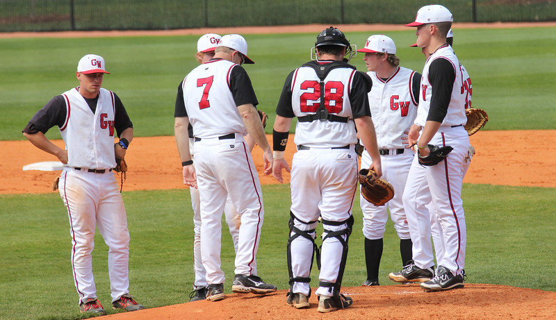 A pitching change was called in the third inning during GWU's match against the Bulldogs of UNC-Asheville on Saturday, March 19th, 2011.