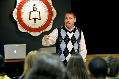 Creation Science Evangelist Eric Hovind speaks to Gardner-Webb University students, faculty, staff and community members; March 10, 2011.