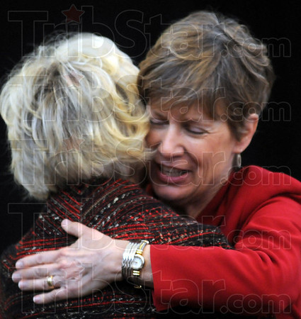 """Hugs: Greencastle Mayor Susan Murray gets a hug from Lt. Governor Becky Skillman during the celebration of the """"Stellar Community"""" event Thursday afternoon."""