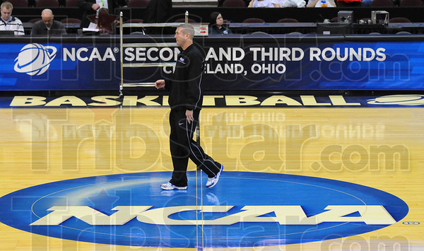 Center stage: ISU head basketball coach Greg Lansing watches his team practice Thursday in Cleveland, preparing for today's matchup with Syracuse.