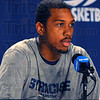 Insight: Kris Joseph, player for the Syracuse Orange, said when asked what he knew abouty Indiana State basketball was that being from Indiana they were White guys who can shoot.