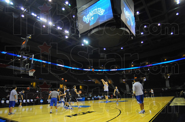 Shootaround: Members of the ISU bakbetball team take their turn on the court in the Quicken Loan Center in Cleveland.