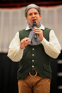 400-year-old Colonial American Obadiah Holmes visits the campus of Gardner-Webb University to speak on religious persecution at Dimensions; March 29, 2011.