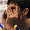 Just a peek: R.J. Mahurin can barely watch as he glances toward the scoreboard near the end of the Sycamore's game with Wichita State.