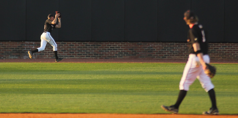 Centerfielder Benji Jackson makes a running catch for the third out of the inning on March 18th, 2011 against opponent UNC-Asheville.