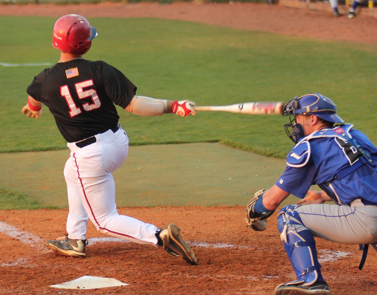 #15 Dusty Quattlebaum in batting action at the plate on Friday, March 18th.