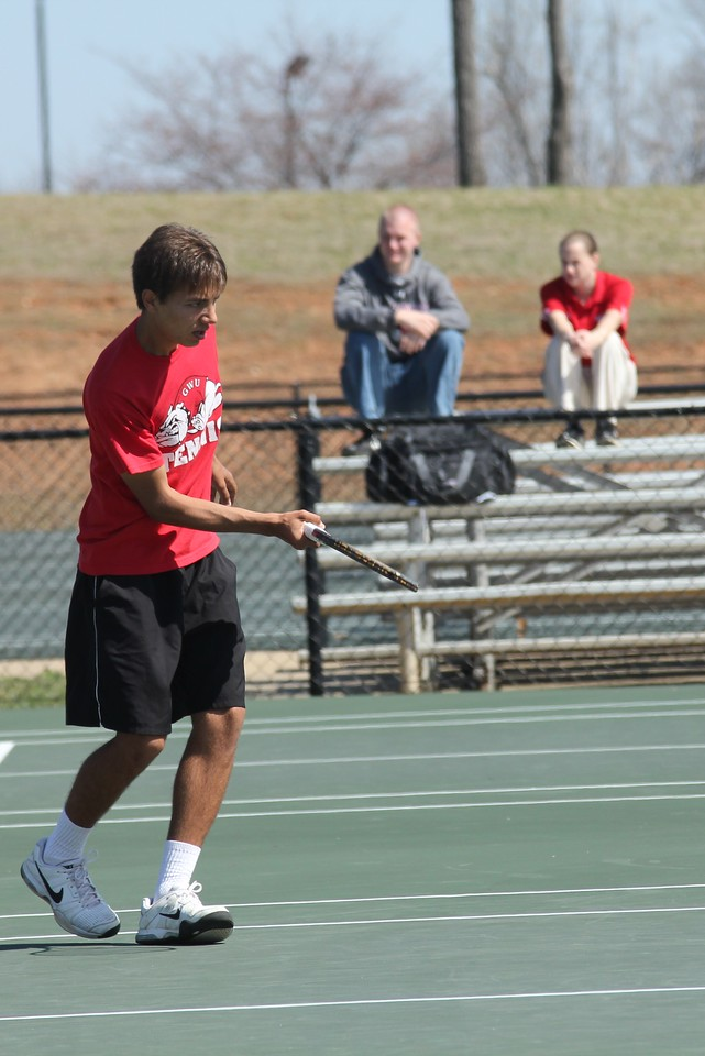 Roman Piftor in his doubles match against Georgia State.