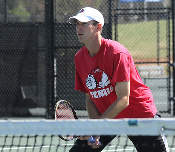 Andrew Carter awaits the serve from his opponent on Saturday, March 12th, 2011.