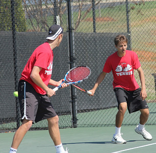 Julien Belair and Roman Piftor practice before their doubles match against Georgia State.