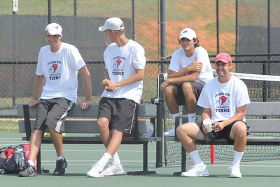 From Left to Right, Andrew Carter, Adam Knutsson-Sunblad, Korhan Ates, and Andrew Veeder watch their teammates in a doubles match on March 19th, 2011.