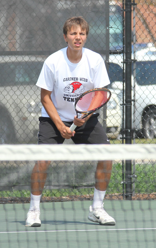 Roman Piftor awaits a serve from an opponent from the Falcon team.