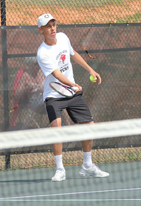 Adam Knutsson-Sunblad prepares for his singles match against Pfeiffer University on March 19th, 2011.