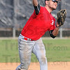 Tribune-Star/Jim Avelis<br /> In the middle: B.J. Zobrist throws from his position at second base, trying to make a play at the plate during practice at RHIT Friday.
