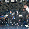 Tribune-Star/Rachel Keyes<br /> Dancing the night away: The Indiana State Sycamore's celebrate after hearing the news that they will be playing Syracuse in Cleveland on Friday.
