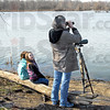 Bird-watchers: Addison Jones watches Denise Prothero as Denise watches birds in the J. I. Case Wetlands Saturday morning. Sitting with Addison is her friend Virginia Graf.